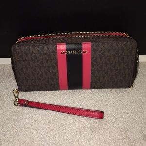 Michael Kors Brown And Red Wallet